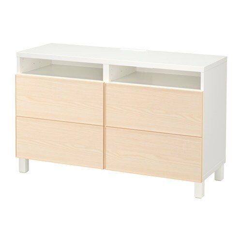 Best mueble tv cajones blanco inviken chapa fresno for Envejecer mueble blanco ikea