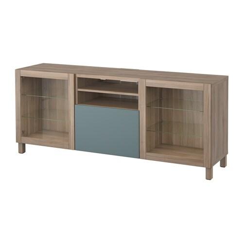 Best mueble tv cajones efecto nogal tinte gris valviken - Muebles cajones ikea ...