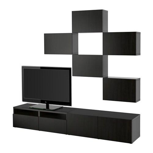 Best mueble tv combinaci n lappviken negro marr n riel - Muebles besta ikea ...