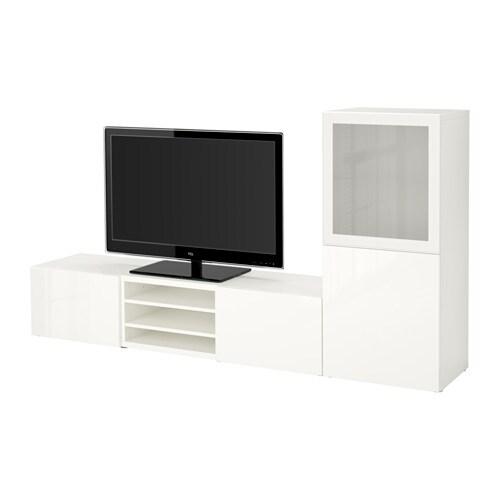 BESTÅ - Moble TV amb emmagatzematge, blanc, Selsviken molt brillant/vidre esmerilat blanc
