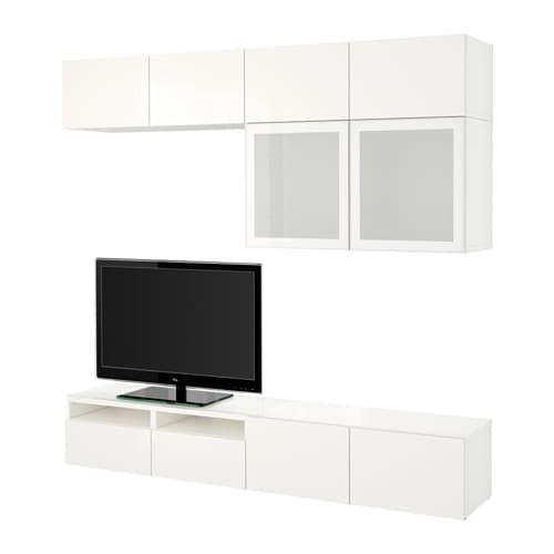 Best mueble tv con almacenaje blanco selsviken alto brillo vidrioesmerilbl riel p caj n - Mueble ikea tv blanco ...