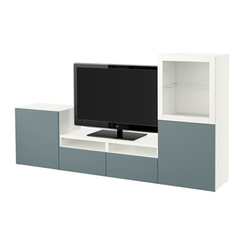 Best mueble tv con almacenaje blanco valviken vidrio - Mueble tv blanco ikea ...