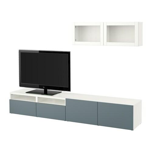 Best mueble tv con almacenaje blanco valviken vidrio - Muebles almacenaje ikea ...