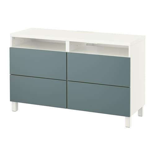 Best mueble tv con almacenaje blanco valviken gris for Muebles almacenaje ikea