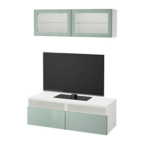 Best mueble tv con almacenaje blanco selsviken alto for Muebles almacenaje ikea