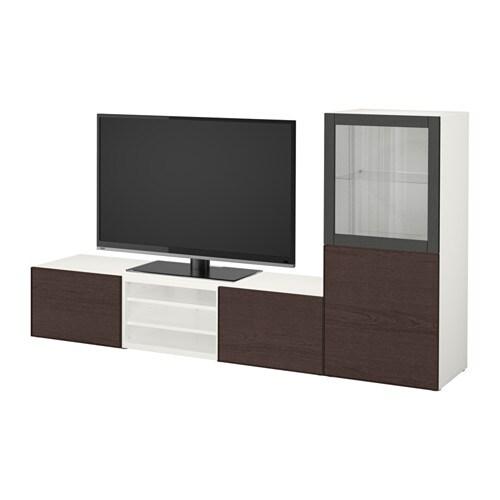 Best mueble tv con almacenaje blanco inviken vidrio transparente negro marr n riel p caj n - Mueble ikea tv blanco ...