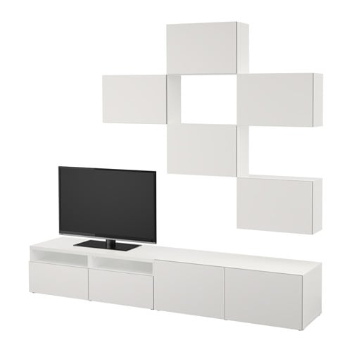 Best mueble tv con almacenaje blanco lappviken gris - Mueble tv blanco ikea ...