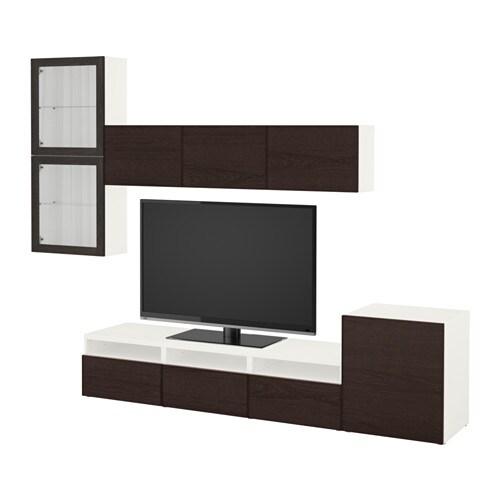 best mueble tv con almacenaje blanco sindvik inviken vidrio negromarrn ancho