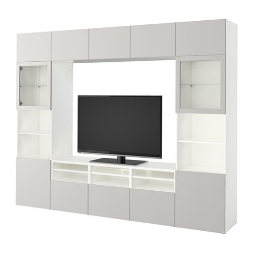 BESTÅ Mueble TV con almacenaje - blanco/Lappviken vidrio ...