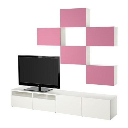 Best mueble tv con almacenaje lappviken rosa blanco for Muebles almacenaje ikea