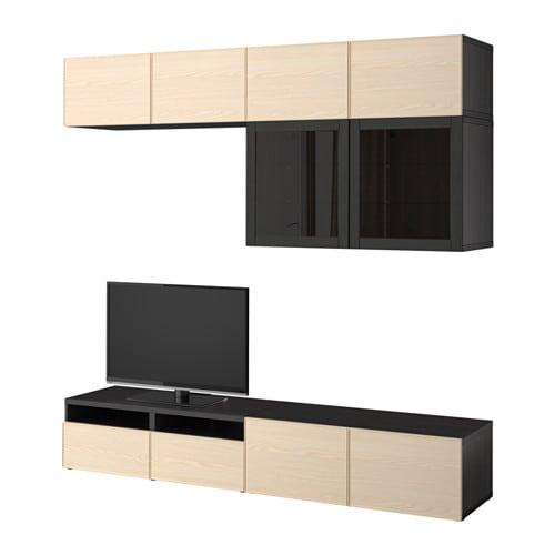 Best mueble tv con almacenaje negro marr n sindvik for Muebles almacenaje ikea