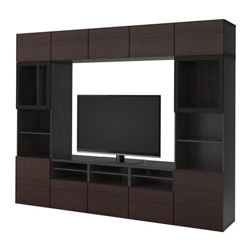 Best mueble tv con almacenaje negro marr n inviken vidrio transparente negro marr n riel p - Mueble television ikea ...