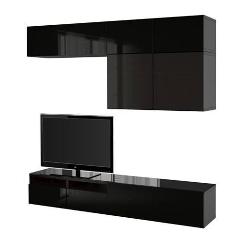 Best mueble tv con almacenaje negro marr n selsviken for Muebles tv ikea