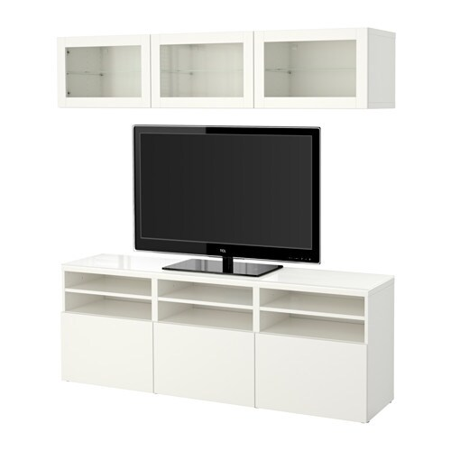 Best mueble tv con almacenaje lappviken sindvik vidrio for Muebles almacenaje ikea
