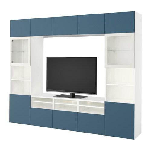 Best mueble tv con almacenaje blanco valviken azul - Mueble tv blanco ikea ...