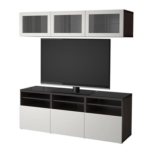 Best mueble tv con almacenaje negro marr n lappviken for Muebles almacenaje ikea