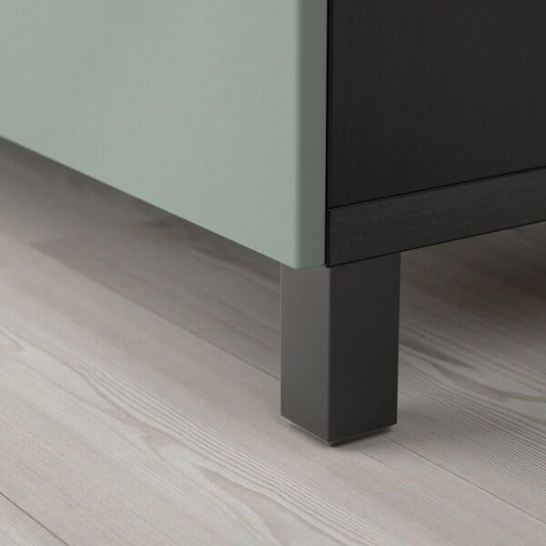 BESTÅ Mueble TV, negro-marrón/Notviken/Stubbarp verde grisáceo, 240x42x74 cm