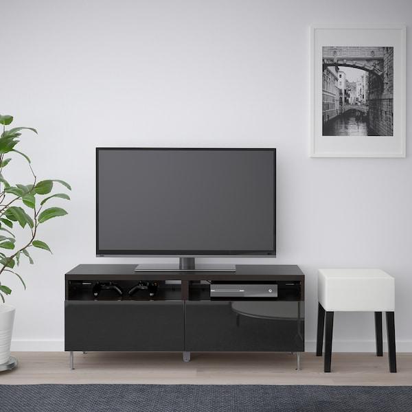 BESTÅ Mueble TV, negro-marrón/Selsviken/Stallarp alto brillo/negro, 120x42x48 cm