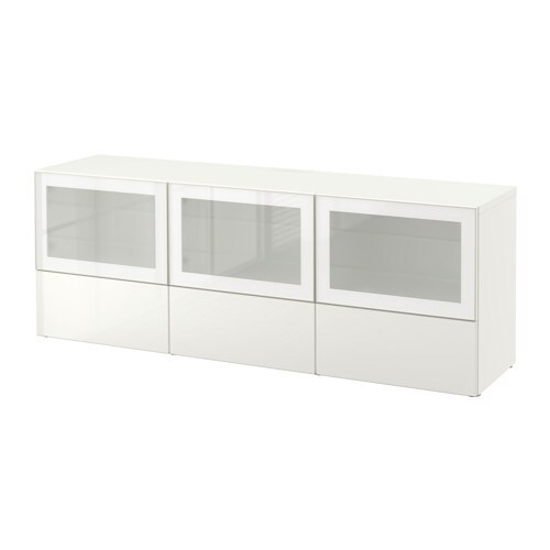 Best mueble tv puert cajones blanco selsviken alto Mueble tv blanco brillo
