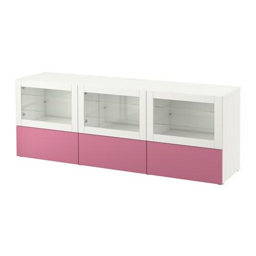 Best mueble tv puert cajones lappviken rosa sindvik for Vidrio plastico transparente precio