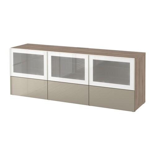 Best mueble tv puert cajones efecto nogal tinte gris selsviken alto brillo vidrio esmerilado - Ikea mueble cajones ...