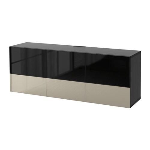 Best mueble tv puert cajones negro marr n selsviken altobrill vidrio ahumado beige riel p - Ikea mueble cajones ...