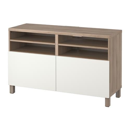 Mueble TV+puertas  efecto nogal tinte grisLappviken blanco  IKEA