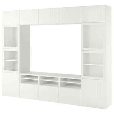 BESTÅ Mueble TV puertas vidrio, blanco Sutterviken/Sindvik vidrio transparente blanco, 300x42x230 cm