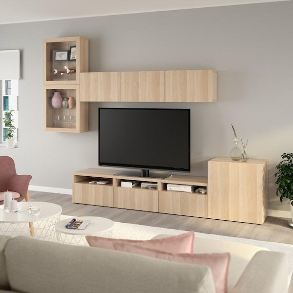 BESTÅ Mueble TV puertas vidrio, efecto roble tinte blanco/Lappviken ef roble tinte bl vidr incol, 300x42x211 cm