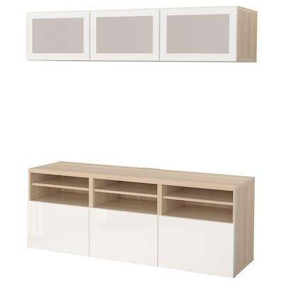 BESTÅ Mueble TV puertas vidrio, efecto roble tinte blanco/Selsviken alto brillo/vidrioesmerilbl, 180x42x192 cm