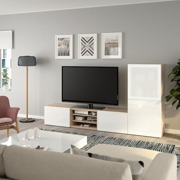 BESTÅ Mueble TV puertas vidrio, efecto roble tinte blanco/Selsviken alto brillo/vidrioesmerilbl, 240x42x129 cm