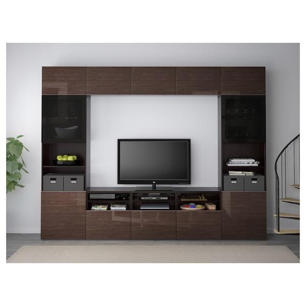 BESTÅ Mueble TV puertas vidrio, negro-marrón/Selsviken alto brillo/vidrioahumadomarrón, 300x40x230 cm