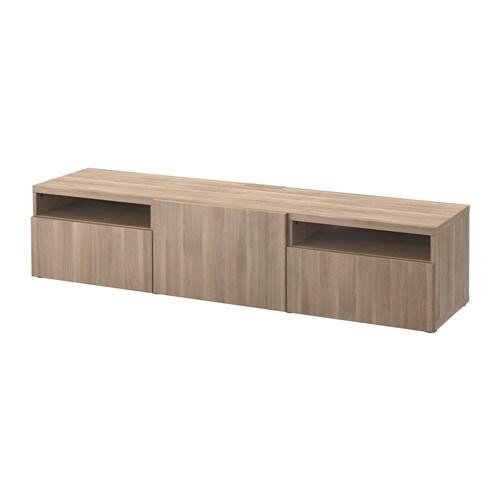 Best mueble tv lappviken efecto nogal tinte gris riel for Mueble 4 huecos ikea