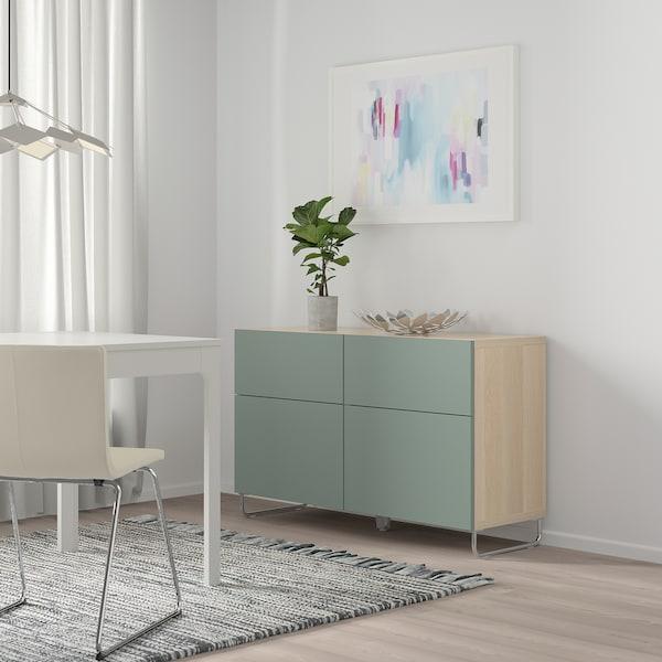 BESTÅ mueble salón efecto roble tinte blanco/Notviken/Sularp verde grisáceo 120 cm 42 cm 74 cm