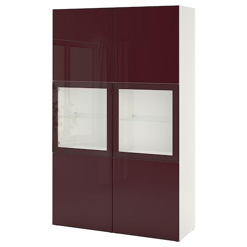 BESTÅ Vitrina blanco Selsviken/marrón rojizo oscuro vidrio incoloro 120 cm 42 cm 192 cm