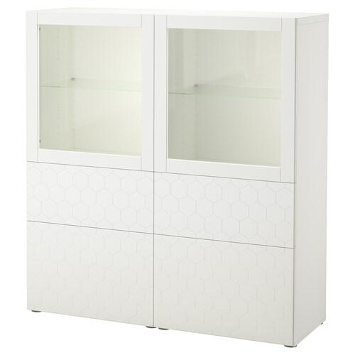 BESTÅ Vitrina blanco/Vassviken vidrio transparente blanco 120 cm 40 cm 128 cm