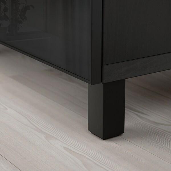 BESTÅ mueble salón negro-marrón/Glassvik vidrio ahumado/negro 180 cm 40 cm 74 cm