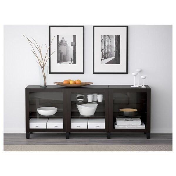 BESTÅ mueble salón Sindvik vidrio transparente negro-marrón 180 cm 40 cm 74 cm