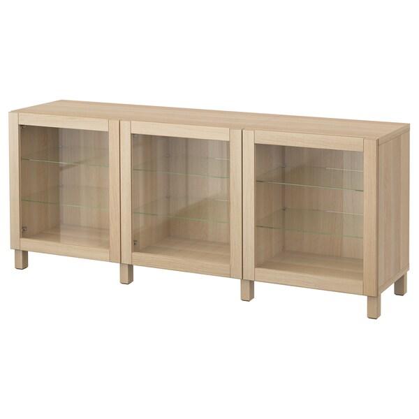 BESTÅ mueble salón Sindvik ef roble tinte bl vidr incol 180 cm 40 cm 74 cm