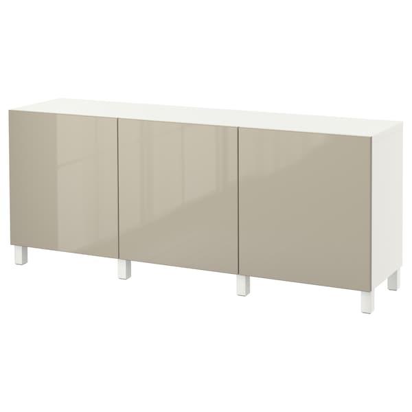 BESTÅ mueble salón blanco/Selsviken alto brillo/beige 180 cm 40 cm 74 cm