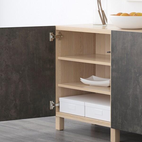 BESTÅ mueble salón efecto roble tinte blanco Kallviken/gris oscuro efecto cemento 180 cm 40 cm 74 cm