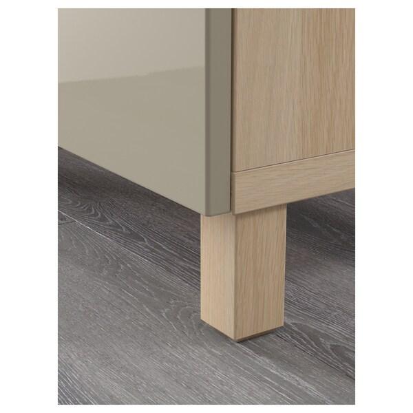 BESTÅ mueble salón efecto roble tinte blanco/Selsviken alto brillo/beige 180 cm 40 cm 74 cm