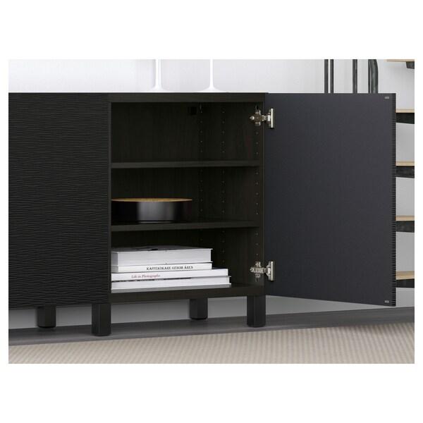 BESTÅ mueble salón negro-marrón/Laxviken negro 180 cm 40 cm 74 cm