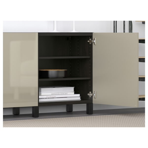 BESTÅ mueble salón negro-marrón/Selsviken alto brillo/beige 180 cm 40 cm 74 cm