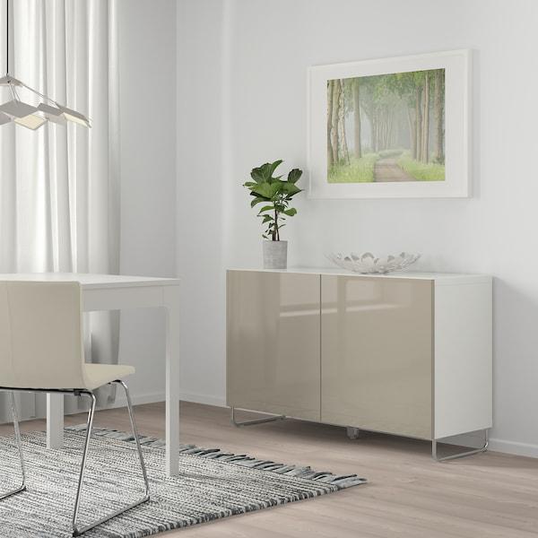 BESTÅ mueble salón blanco/Selsviken/Sularp alto brillo/beige 120 cm 40 cm 74 cm