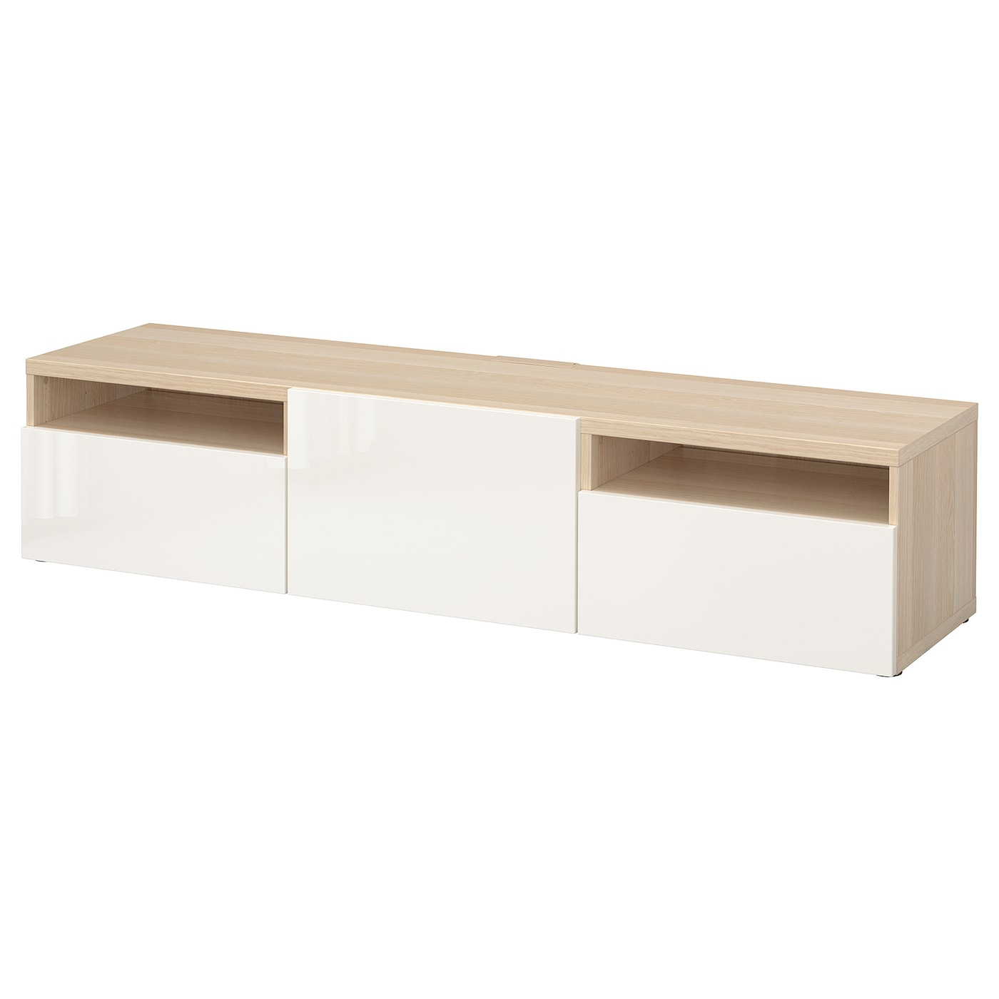 Mueble TV, efecto roble tinte blanco, Selsviken alto brillo/blanco, 180x42x39 cm