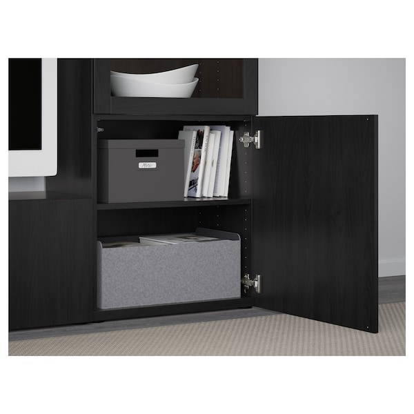 BESTÅ mueble TV puertas vidrio Lappviken/Sindvik vidrio transparente negro-marrón 240 cm 40 cm 128 cm