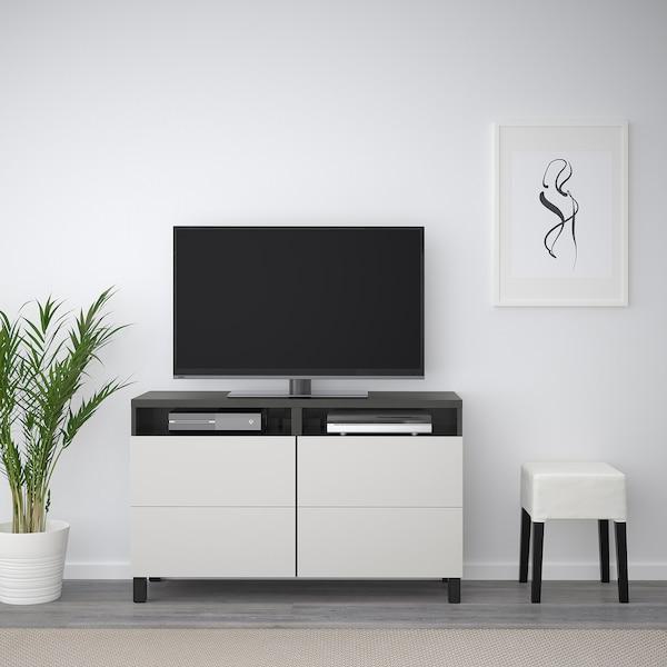 BESTÅ mueble TV negro-marrón/Lappviken gris claro 120 cm 40 cm 74 cm 50 kg