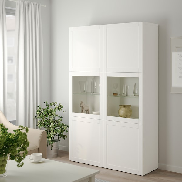 BESTÅ Vitrina, blanco Hanviken/Sindvik vidrio transparente blanco, 120x42x193 cm