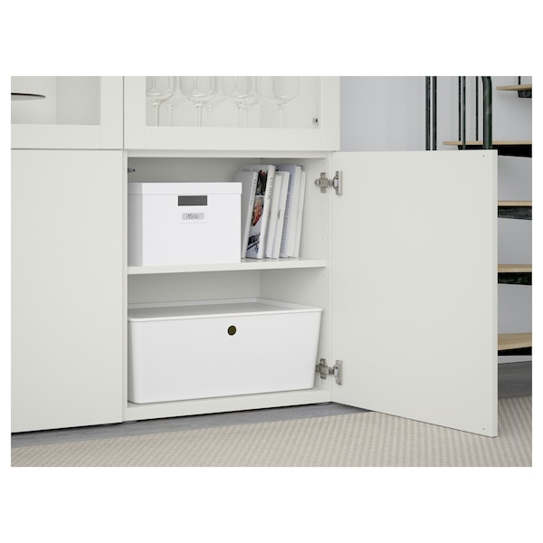 BESTÅ Vitrina, blanco Lappviken/Sindvik vidrio transparente blanco, 120x42x193 cm